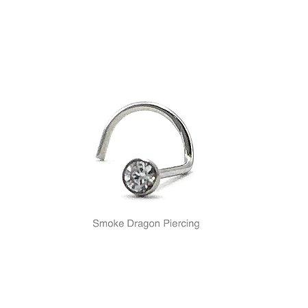Piercing - Aço Cirúrgico - Nostril - Pedra de Zirconia 2mm - Espessura 0.6mm
