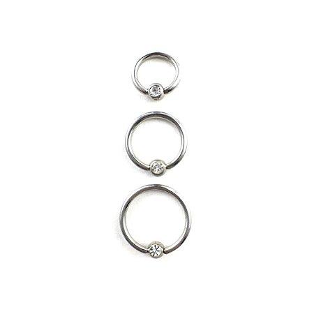 Piercing - Captive  - Argola - Aço Cirúrgico - Pedra de Strass - Espessura 1.2 mm