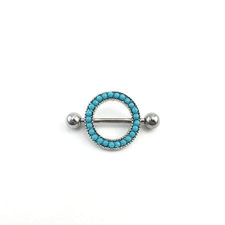 Piercing - Barbell Reto - Mamilo - Círculo - Aço Cirúrgico - Banho de Ródio- Espessura 1.6 mm
