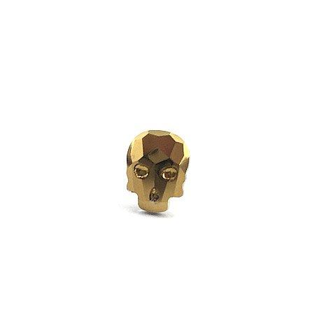 Piercing - Microbell Reto - Caveira - Dourado - Aço Cirúrgico - Espessura 1.2 mm