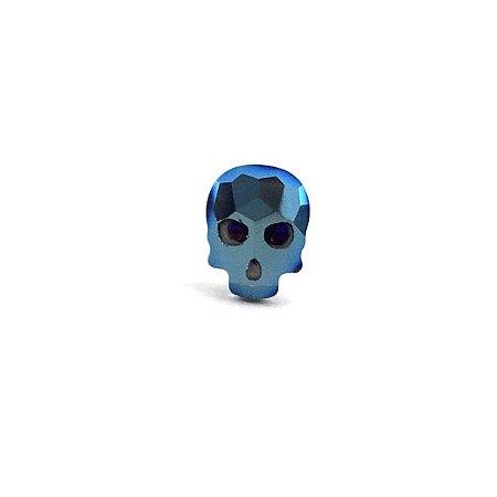 Piercing - Microbell Reto - Caveira - Azul - Aço Cirúrgico - Espessura 1.2 mm