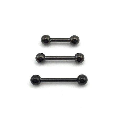 Piercing - Aço Cirúrgico - Microbell Reto - Preto - Espessura 1.2 mm