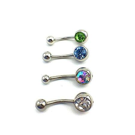 Piercing - Barbell Curvo - Umbigo - Aço Cirúrgico - 1 Pedra 8mm - Espessura 1.6 mm