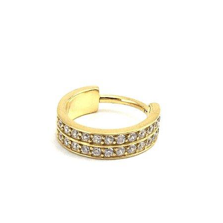 Piercing - Segmentado - Articulado - Clicker - Aço - Gold PVD 24K - Zircônia Cúbica - Conch - Espessura 1.3mm
