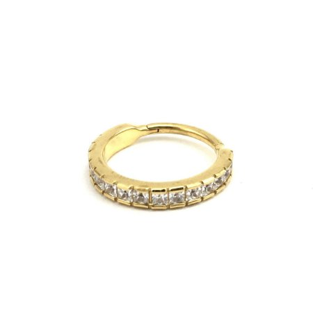 Piercing - Segmentado - Articulado - Clicker - Aço - Gold PVD 24K - Zircônia Cúbica - Conch - Espessura 1.2mm