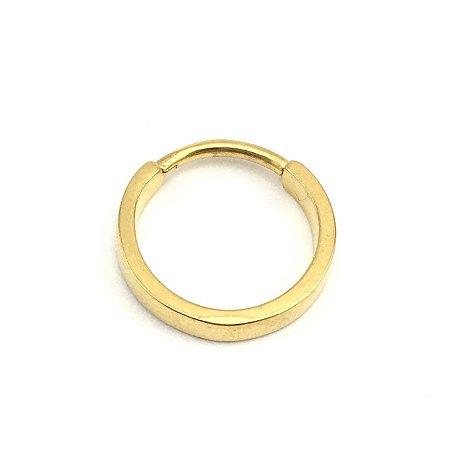 Piercing/Aço/Segmentado/Clicker/Gold PVD 24K/Conhc/Espessura 1.3mm