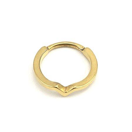 Piercing - Segmentado - Articulado - Clicker - Aço - Gold PVD 24K - Conch - Espessura 1.3mm