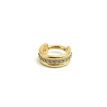 Piercing - Segmentado - Articulado - Clicker - Aço - Gold PVD 24K - Zircônia Cúbica - Hélix - Espessura 1.2mm