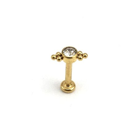 Piercing - Labret - Rosca Interna - Titânio - Gold PVD 24K - Cristal Swarovski - Espessura 1.2mm
