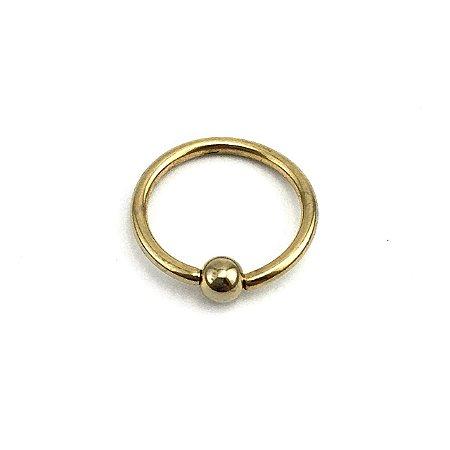 Piercing - Captive - Argola - Aço Cirúrgico - Folheado - Dourado - Espessura 1.2mm