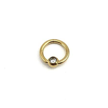 Piercing - Captive - Argola - Aço Cirúrgico - Folheado - Dourado - Strass - Espessura 1mm