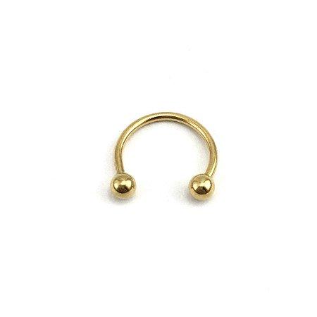 Piercing - Ferradura - Aço Cirúrgico - Folheado - Dourado - Espessura 1mm