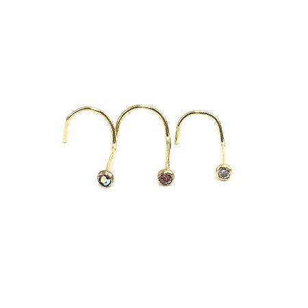 Piercing - Nostril - Nariz - Aço Cirúrgico - Folheado - Dourado - Espessura 0.6mm