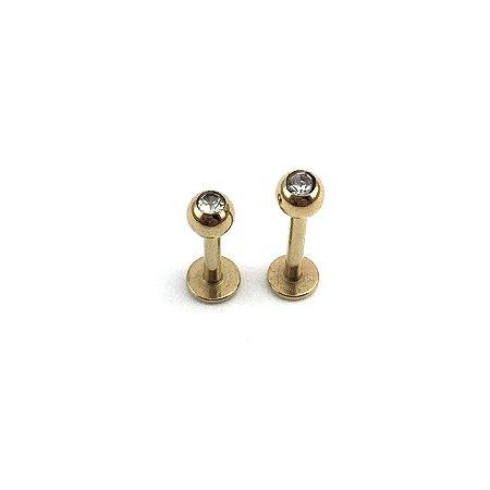 Piercing - Labret - Aço Cirúrgico - Folheado - Dourado - Strass - Espessura 1.2mm