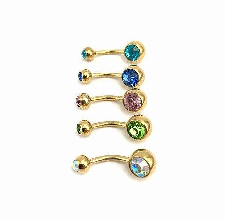 Piercing - Barbell Curvo - Umbigo - Aço Cirúrgico - Folheado - Dourado - Strass - 2 pedras - Espessura 1.6mm