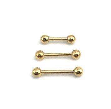 Piercing - Microbell Reto - Aço Cirúrgico - Folheado - Dourado - Espessura 1.2mm