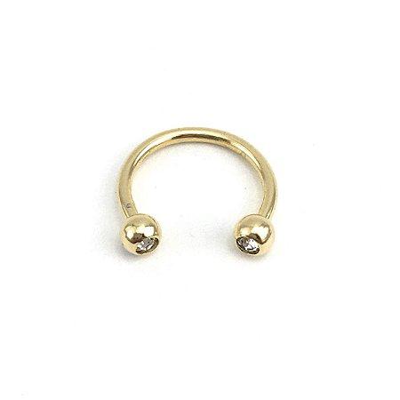 Piercing - Ferradura - Aço Cirúrgico - Banhado - Dourado - Strass - Espessura 1.2mm