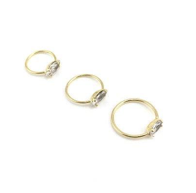 Piercing - Argola - Aço Cirúrgico - Banhado - Dourado - Strass - Espessura 0.6mm