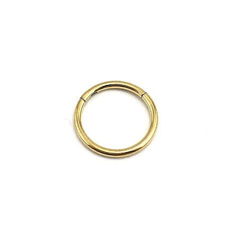 Piercing - Argola - Segmentada - Articulada - Clicker - Aço Cirúrgico - Anodizado - Dourado - Espessura 1.2mm