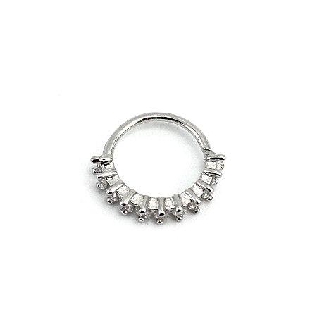 Piercing - Argola - Latão - Ródio - Strass - Espessura 1mm