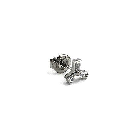 Brinco - Moinho de Vento - Tarracha - Aço Cirúrgico - Zircônia Cúbica - Espessura 0.8mm