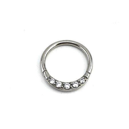 Piercing/Aço/Argola/Segmentada/Clicker/Zircônia/1.2*10*2 mm
