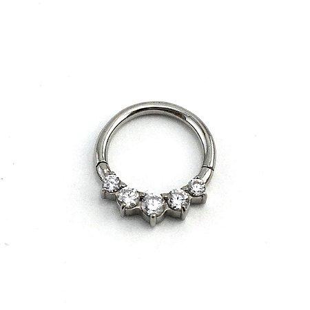 Piercing - Argola - Segmentada -  Articulada - Clicker - Aço Cirúrgico - Zircônia - Espessura 1.2 mm