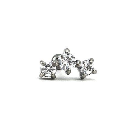 Piercing -Microbell Reto - Cluster - Aço Cirúrgico - Zircônia Swarovski - Espessura 1.2 mm