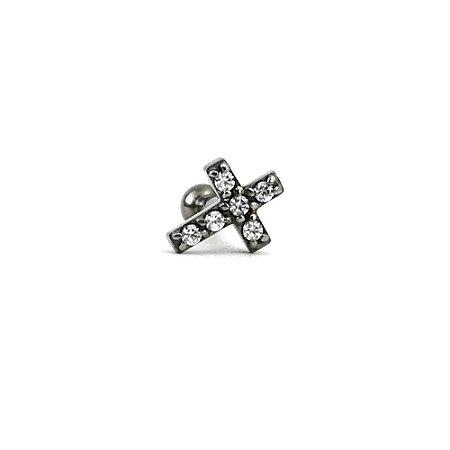 Piercing - Microbell Reto - Cruz - Aço Cirúrgico - Zircônia Swarovski - Rosca Interna - Espessura 1.2 mm