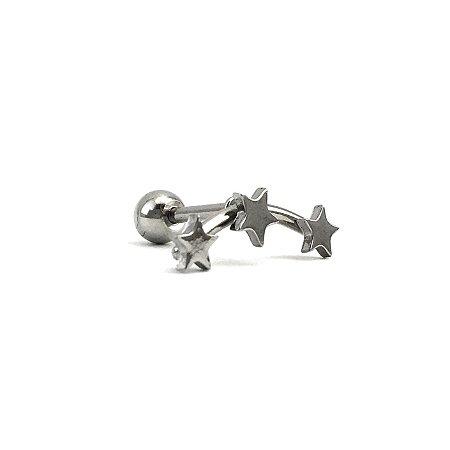Piercing - Microbell Reto - Estrela - Cluster - Aço Cirúrgico - Espessura 1.2 mm