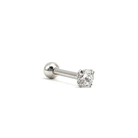 Piercing - Microbell Reto - Ponto de luz - Aço Cirúrgico - Zircônia - Espessura 1.2 mm