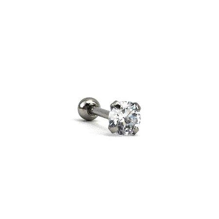 Piercing - Microbell Reto - Brilho - Aço Cirúrgico - Zircônia - Espessura 1.2 mm