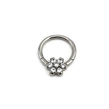 Piercing - Argola - Segmentada -  Articulada - Clicker - Flor - Zircônia - Aço Cirúrgico - Espessura 1.2 mm