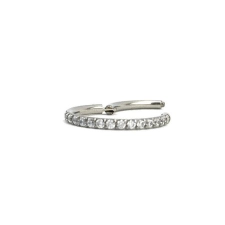 Piercing - Argola - Segmentada -  Articulada - Clicker - Cravejada - Zircônia - Aço Cirúrgico - Espessura 1.2 mm