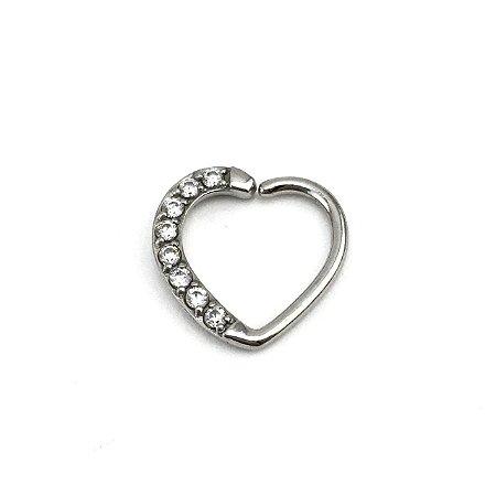 Piercing - Coração - Daith - Aço Cirúrgico - - Zircônia Cúbica - Espessura 1.2 mm