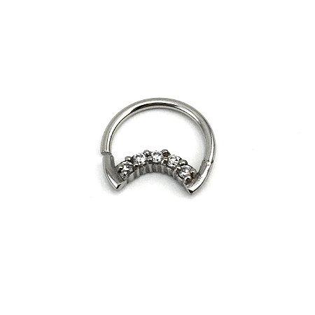 Piercing - Lua - Daith - Aço Cirúrgico - Zircônia Cúbica - Espessura 1.2 mm