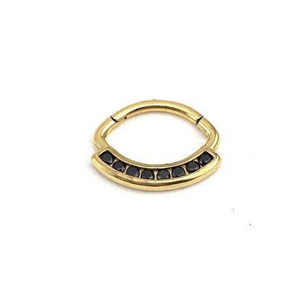 Piercing - Daith - Septo - Articulada - Clicker - Aço Cirúrgico - Banhado Ouro 24K - Zircônia Swarovski - Espessura 1.2 mm
