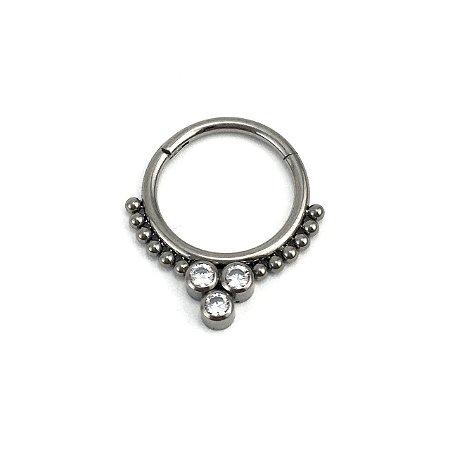 Piercing - Argola - Indiana - Segmentada -  Articulada - Clicker - Septo - Titânio -Zircônia Cúbica - Espessura 1.2 mm