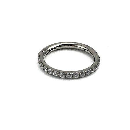 Piercing - Argola - Segmentada -  Articulada - Clicker - Cravejada - Titânio - Zircônia Cúbica - Espessura 1.2 mm