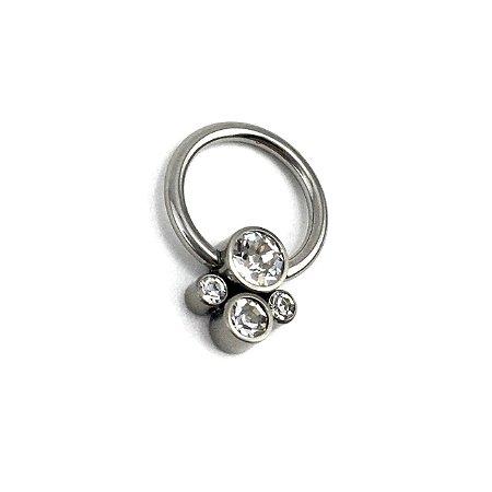 Piercing - Captive - Cluster - Titânio - Zircônia Cúbica - Espessura 1.2 mm