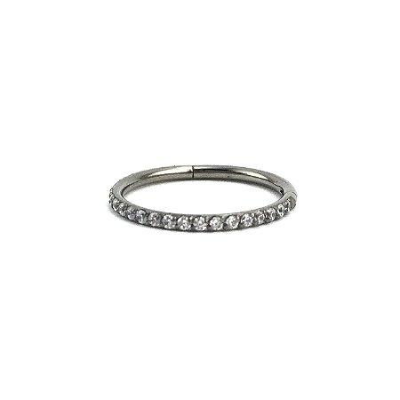 Piercing  Titânio - Argola - Cravejada - Segmentada - Clicker - Conch - Zircònia Cúbica - Espessura 1.2 mm