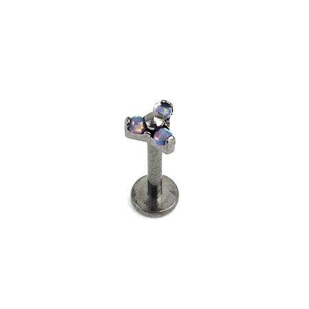 Piercing  Titânio - Labret - Trinit - Rosca Interna  - Opala Sintética - Furtacor - Espessura 1.2mm