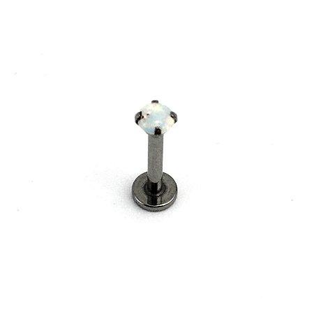 Piercing - Labret - Rosca Interna - Titânio - Opala Sintética - Furtacor - Espessura 1.3mm