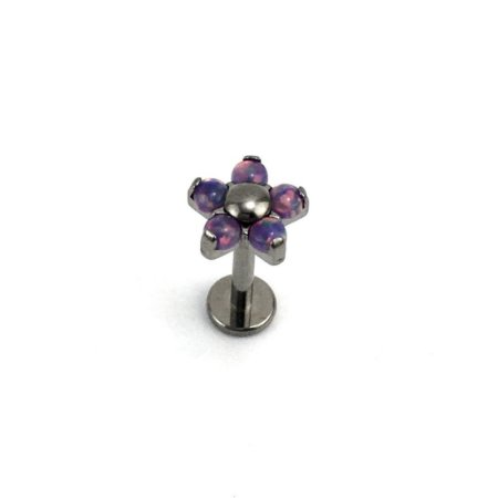 Piercing - Labret - Flor - Rosca Interna - Titânio - Opala Sintética - Furtacor - Espessura 1.2mm