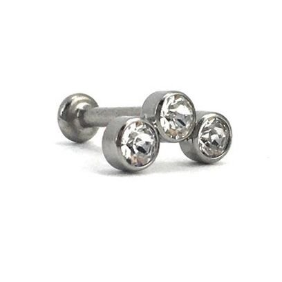 Piercing - Labret - Cluster - Rosca Interna - Titânio - Cristal Swarovski - Espessura 1.2mm