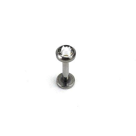 Piercing - Labret - Rosca Interna - Titânio - Cristal Swarovski - Espessura 1.2mm