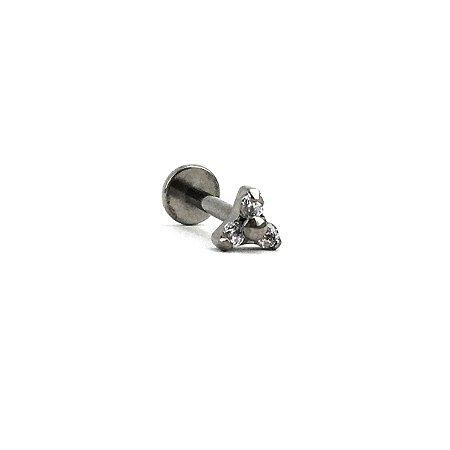 Piercing - Labret - Trinit - Rosca Interna - Titânio - Zircônia - Espessura 1.2mm