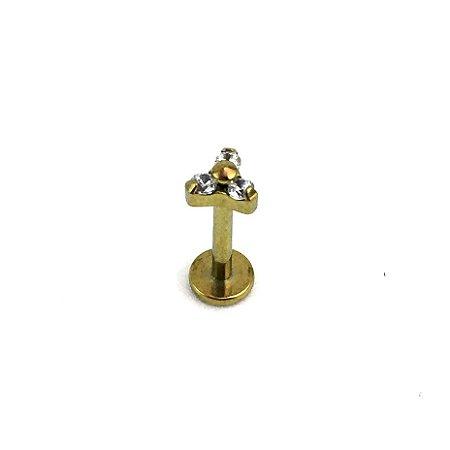 Piercing - Labret - Trinit - Rosca Interna - Titânio - Anodizado - Zircônia Cúbica - Espessura 1.2mm