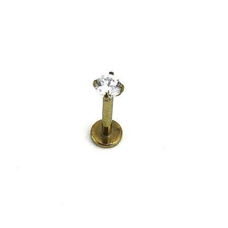 Piercing  Titânio - Anodizado - Labret - Ponto de Luz - Rosca Interna  - Zircônia Cúbica - Espessura 1.2mm