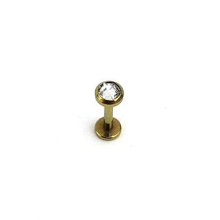Piercing - Labret - Rosca Interna - Titânio - Anodizado - Zircônia - Espessura 1.2mm